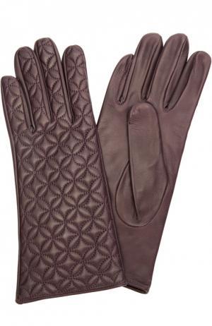 Кожаные перчатки с прострочкой Sermoneta Gloves. Цвет: темно-фиолетовый
