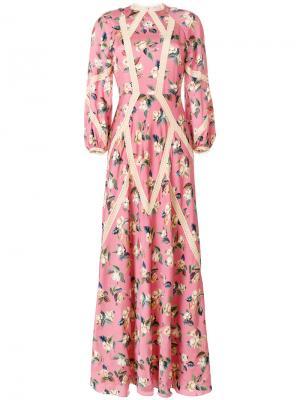 Платье с цветочным принтом Vilshenko. Цвет: розовый и фиолетовый
