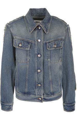 Джинсовая куртка прямого кроя с потертостями Mm6. Цвет: синий