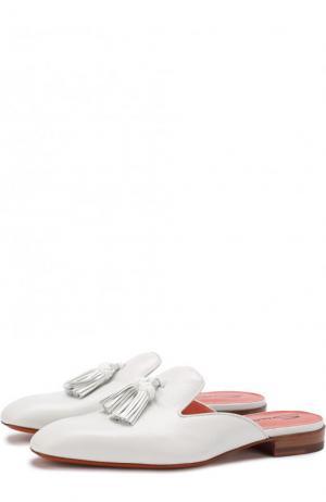 Кожаные сабо с кисточками Santoni. Цвет: белый