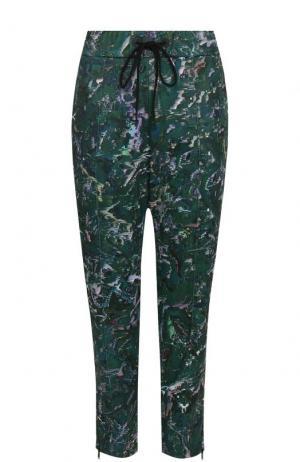 Укороченные брюки прямого кроя с принтом Y-3. Цвет: темно-зеленый