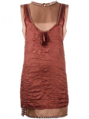 Платье-майка с мятым эффектом Nº21. Цвет: розовый и фиолетовый