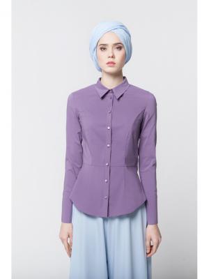 Блуза с баской фиолетовая Bella kareema. Цвет: фиолетовый