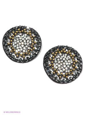 Серьги Happy Garnets. Цвет: черный, серебристый, золотистый