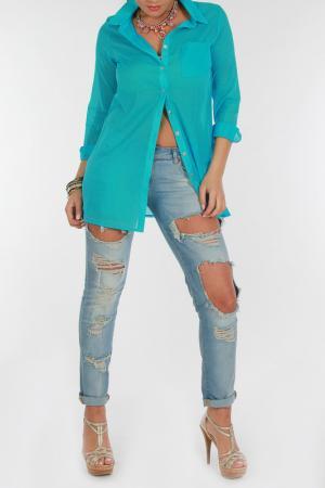 Рубашка Zer otantik. Цвет: голубой