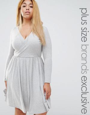 Club Lounge Plus Приталенное платье с запахом и длинными рукавами L. Цвет: серый