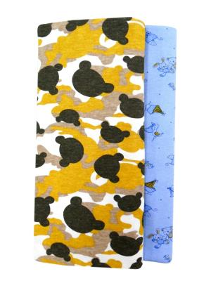Комплект пеленок UNIK. Цвет: голубой, светло-коричневый