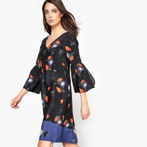 Платье прямое с цветочным рисунком и воланами на рукавах La Redoute Collections. Цвет: рисунок/фон черный