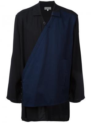 Рубашка с асимметричной панелью Yohji Yamamoto. Цвет: чёрный