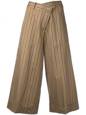 Укороченные широкие брюки Monse. Цвет: коричневый
