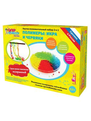 Набор для опытов Полимеры: икра и червяки Бумбарам. Цвет: желтый, зеленый, красный