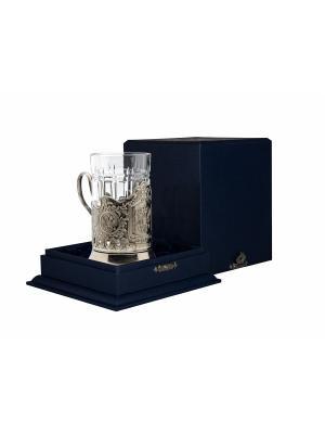 Набор для чая никелированный с чернью Герб РФ (подстаканник + стакан  футляр) Кольчугинъ. Цвет: серебристый