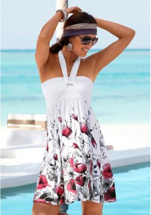 Пляжное платье Lascana. Цвет: белый, дымчато-синий, с рисунком, черный, ярко-розовый