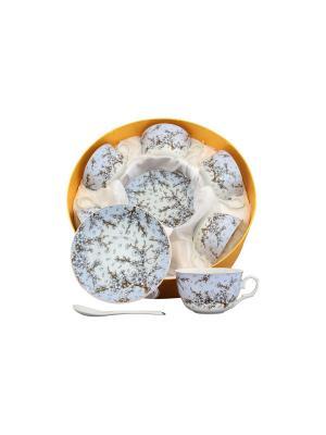 Чайный набор Сакура на голубом  с ложками Elan Gallery. Цвет: белый, голубой
