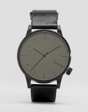 Komono Черные часы с кожаным ремешком Winston. Цвет: черный