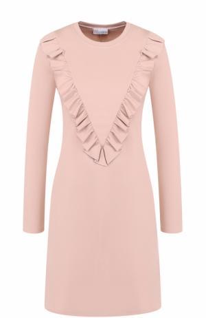 Мини-платье с длинным рукавом и оборками REDVALENTINO. Цвет: светло-розовый