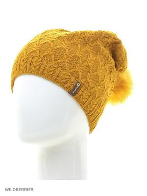 Фабритти Беркле шапка женская с помпоном Berkle. Цвет: горчичный