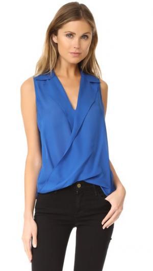 Драпированная блуза L'AGENCE. Цвет: голубой сен-тропе