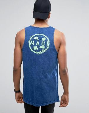 Maui & Sons Майка с принтом. Цвет: темно-синий