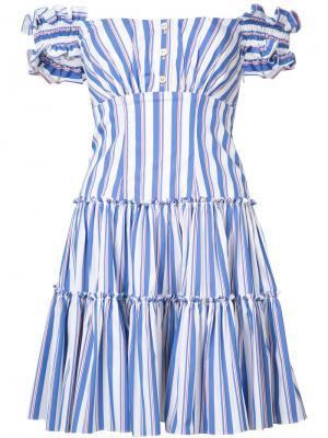 Полосатое платье Maria Caroline Constas. Цвет: синий