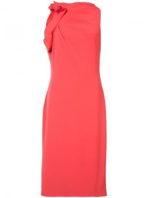 Приталенное платье с драпировкой Badgley Mischka. Цвет: красный