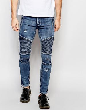 Liquor N Poker Синие зауженные байкерские джинсы с рваной отделкой. Цвет: синий