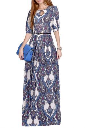 Длинной платье с принтом FRANCESCA LUCINI. Цвет: голубой, карибы