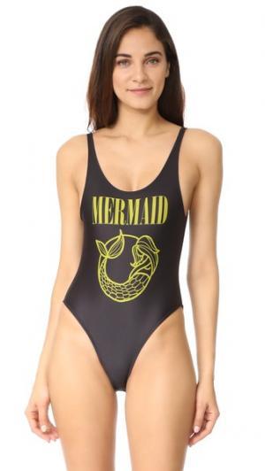 Сплошной купальник Mermaid CHRLDR. Цвет: голубой