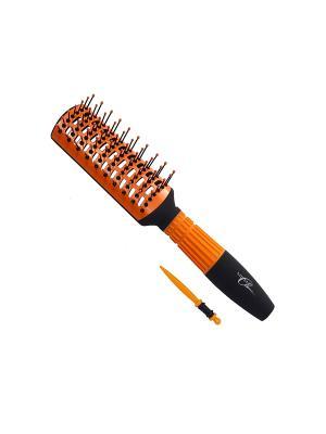 Щетка Milen Classic 1362842, продувная, керамическая, Soft-Touch, 7 рядов. пр. Цвет: черный, оранжевый