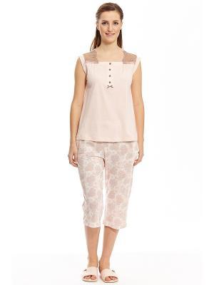 Пижама с капри RELAX MODE. Цвет: персиковый