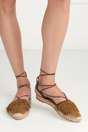 Замшевые сандалии Pocahontas Aquazzura. Цвет: коричневый