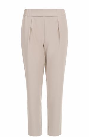 Укороченные брюки-бананы с защипами BOSS. Цвет: бежевый