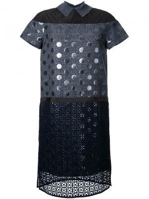 Платье-шифт с панелью в горох Kolor. Цвет: многоцветный