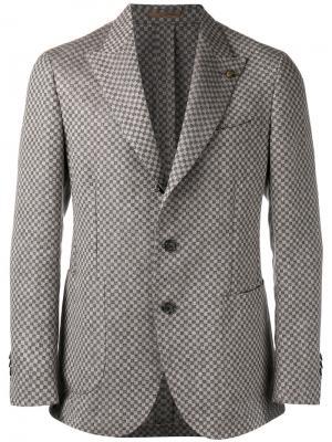 Пиджак с узором в клетку Gabriele Pasini. Цвет: коричневый