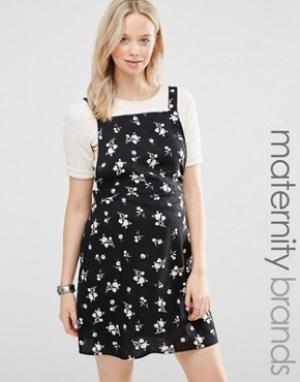 New Look Maternity Платье-сарафан для беременных с цветочным принтом. Цвет: черный