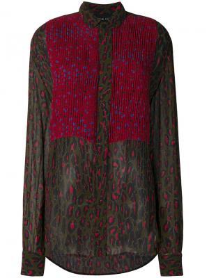 Плиссированная блузка с леопардовым принтом Michel Klein. Цвет: зелёный