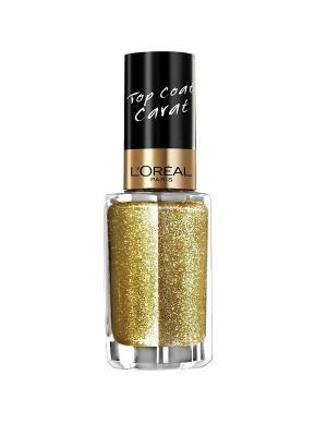 Верхнее покрытие для ногтей Top Coat, оттенок 910, Золотой карат, 5 мл L'Oreal Paris. Цвет: золотистый