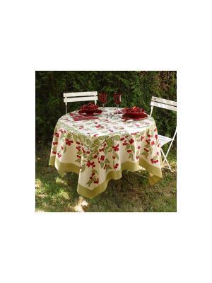 Скатерть Cherry red-green /Вишня красный-зеленый/ 150*150см, 100% хлопок Mas d'Ousvan. Цвет: зеленый, красный, белый