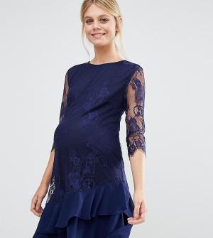 Little Mistress Maternity Кружевное цельнокройное платье для беременных Maternit. Цвет: темно-синий