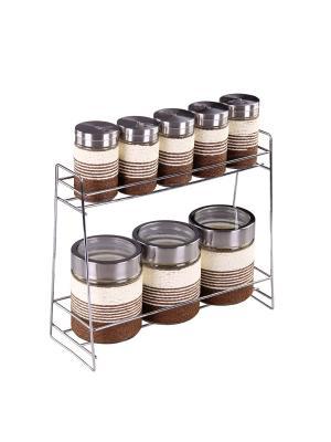 Набор банок для сыпучих продуктов 8 шт PATRICIA. Цвет: коричневый