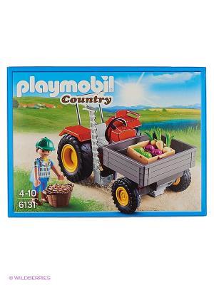 Ферма: Уборочный трактор Playmobil. Цвет: красный, серый