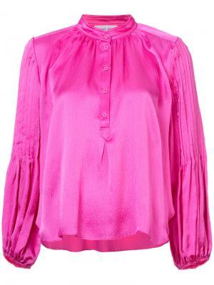Блузка с воротом-стойкой на пуговицах Apiece Apart. Цвет: розовый и фиолетовый