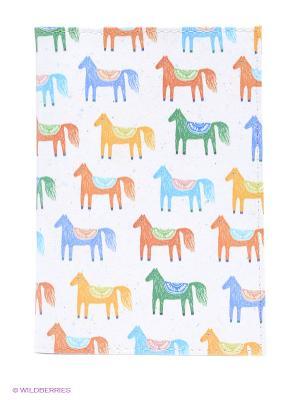Обложка для автодокументов Цветные лошадки Mitya Veselkov. Цвет: белый, зеленый, оранжевый