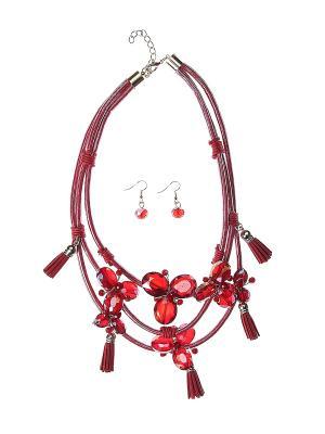 Комплект (колье, серьги) Migura. Цвет: красный, золотистый