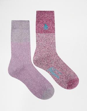 Penguin 2 пары фиолетовых толстых носков из крученой нити. Цвет: фиолетовый