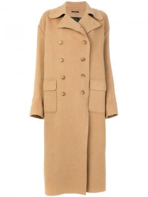 Длинное двубортное пальто R13. Цвет: коричневый