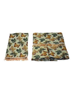 Комплект дивандек 150*200 (70*140-2 шт.) +/- 2% JM-001D Бабочки МарТекс. Цвет: коричневый