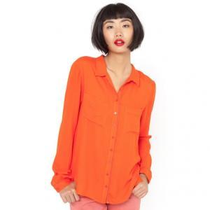 Блузка с рубашечным воротником R essentiel. Цвет: серый