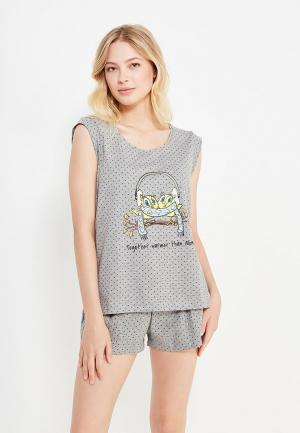 Пижама oodji. Цвет: серый