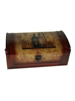 Шкатулка Сундучок под бутылку Русские подарки. Цвет: коричневый